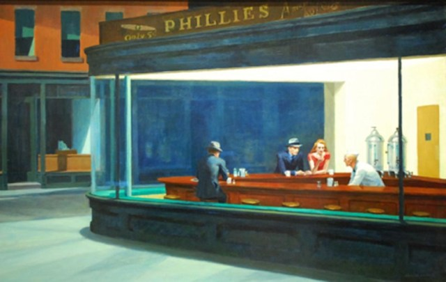 """Nighthawks by Edward Hopper 1942"" by Edward Hopper - email. Licensed under Public Domain via Wikimedia Commons - https://commons.wikimedia.org/wiki/File:Nighthawks_by_Edward_Hopper_1942.jpg#/media/File:Nighthawks_by_Edward_Hopper_1942.jpg"