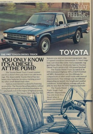 1982 Toyota pickup diesel ad
