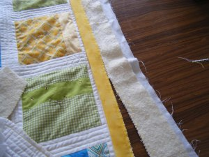 Binding sewn on and pinking edges