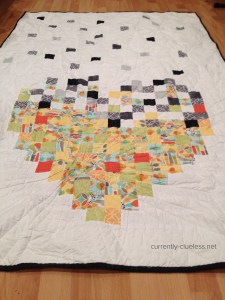 A close up of the back, and the line quilting