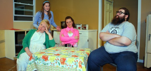 "From left: Diann Ryan (Clara), Becca Wenning (Ruth), Kelly BeDell (Beverly) and Stefan U.G. LeBlanc (Jimmy) play the dysfunctional but loving Nowak family in ""Miracle on South Division Street."" For more photos of the play, visit www.currentnightandday.com. (Photo by Robert Herrington)"