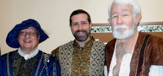 (From left to right) Chris Velonis, Ernie Mudris and Mike Hackett dress in their madrigal attire. (Photo by Steven Aldrich)