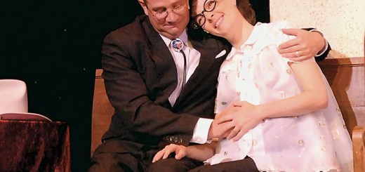 """Characters Mervin, played by John Vessels, and June, played by Sarah Hund, in """"Smoke on the Mountain: Homecoming"""" which is now playing at Beef & Boards dinner theater. (Submitted photo)"""