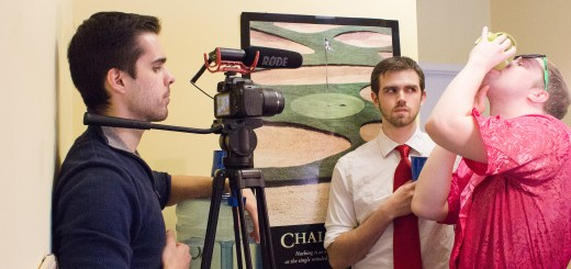 From left: Henry Yeager, Collin Stroup and Caolan Breen shoot a short film for YouTube. (Submitted photo)