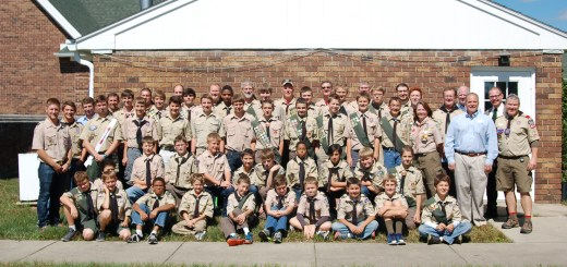 Troop 804 celebrates with current and past Scouts, assistant scoutmasters, first scoutmaster, Tim Blagsvedt; past scoutmasters, Ron Penczek and Mick Witte; and current scoutmaster, Greg Hoyes. (Submitted photos)