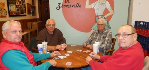 From left) Euchre players Sam Fix, Dan Fix, Gene Reynolds, and Lowell Lemon sit inside Dave's Deli (Submitted photo)