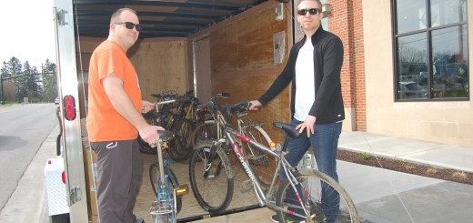 Two members of Dow AgroSciences AgroCyclists group - Brian Johnson and Ryan Gibson - assisted with bike collection at Endurance House in Zionsville.