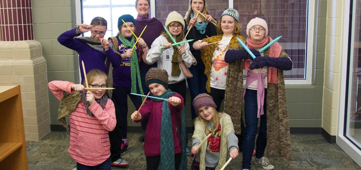 The Knitting Ninjas at Zionsville West Middle School meet weekly to work on projects, share new patterns and help each other with stitches. They are among a growing number of students picking up the hobby across the country. (Photo by Lisa Price)