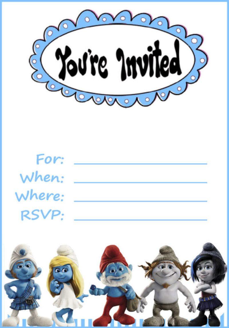 Smurfs Invitation Cards Free | Invitationswedd.org