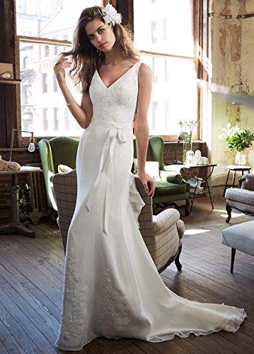 Chiffon Wedding Dress with Ruffle Detail and Lace Style 1