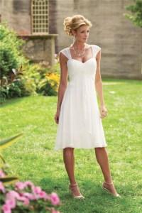 A-Line Princess Straps Knee-length Chiffon Wedding Dress