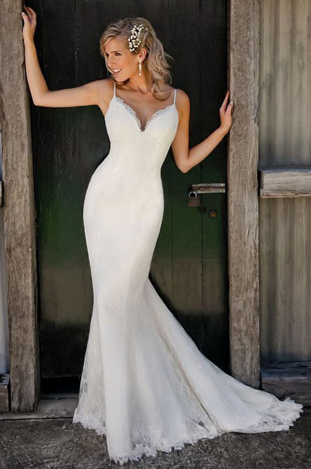 mermaid wedding dress spaghetti straps white mermaid wedding dresses Spaghetti Straps V Neck Lace Mermaid Wedding Dress