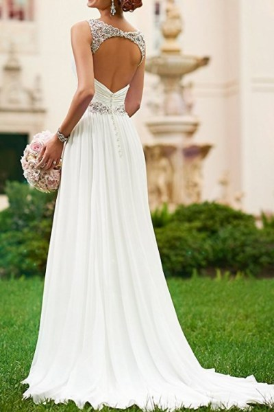 V Neck Shoulder Straps Soft Ruching Chiffon Wedding Gown (1)