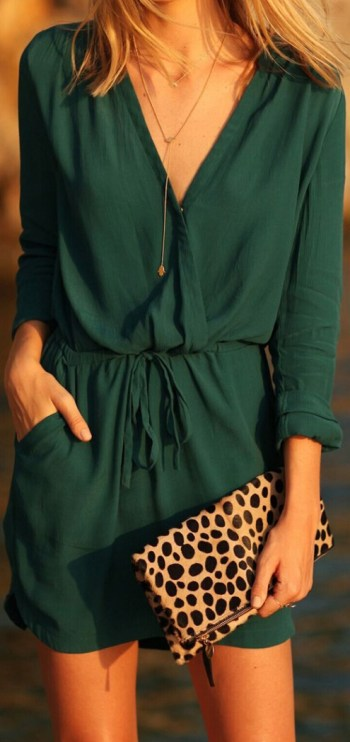 Cute Chic Deep V Elastic Waist Dress