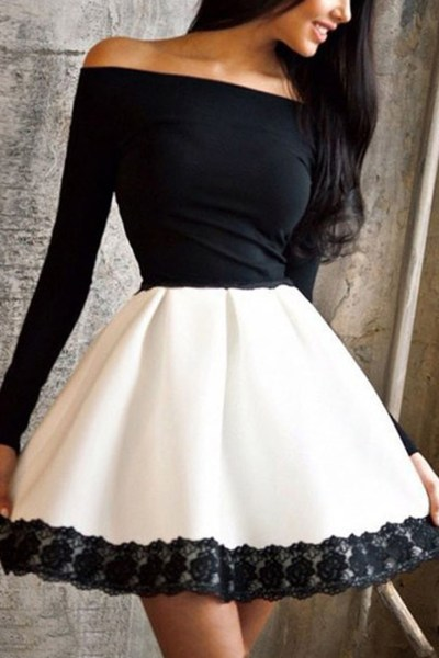 Cute Off-the-Shoulder Lace Paneled Combo Dress