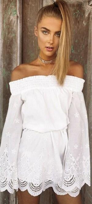 Cute off Shoulder Long Sleeve Tie Waist Dress