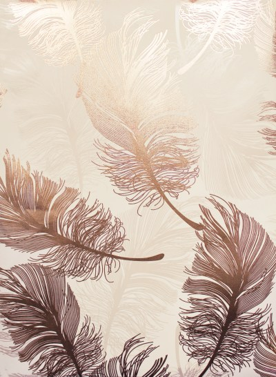Crown Luxe Plume Foil Wallpaper - M1391 - Rose Gold