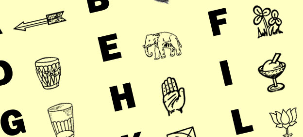 Indian political party symbols alphabet chart