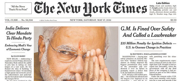 Narendra Modi and BJP's victory on world newspaper front pages