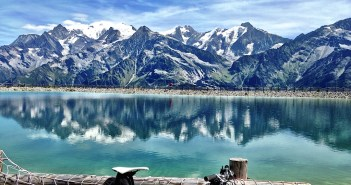 Artificial lake, and Mont Blanc massif