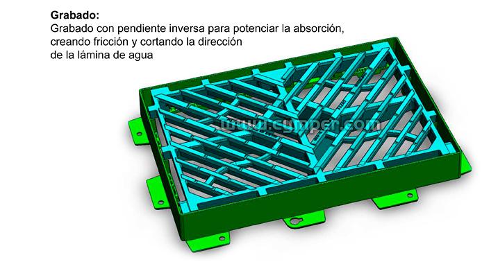 Reja imbornal Maremagnum 750x500 Fundición Dúctil D400 - Grabado