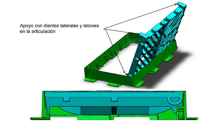 Reja imbornal Maremagnum 750x500 Fundición Dúctil D400 - Apoyos laterales