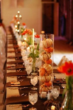 9 DIY Thanksgiving Decorating Ideas From Pinterest, pumpkins in glass vase
