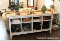 shoe storage in a sofa table