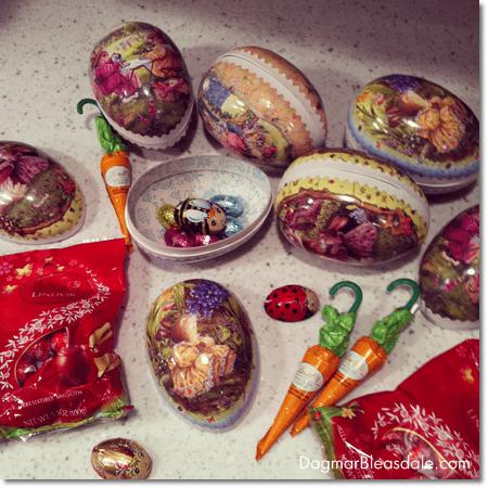 German paper Easter eggs and German chocolate