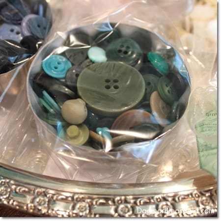 vintage buttons in vintage Jello tin mold