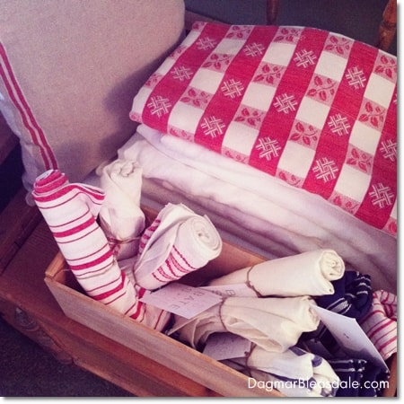 vintage red-and-white linens at Country Living Fair 2014