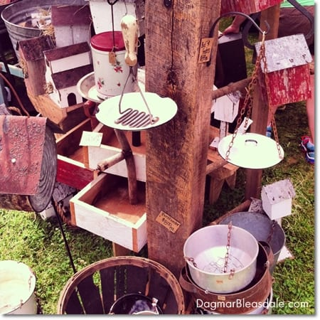 bird feeders made out of vintage items, Country Living Fair in Rhinebeck, DagmarBleasdale.com