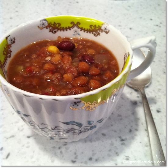 organic lentil soup in Anthropologie bee cup