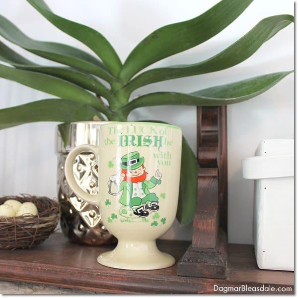 St. Patrick's Day mantel decor, DagmarBleasdale.com