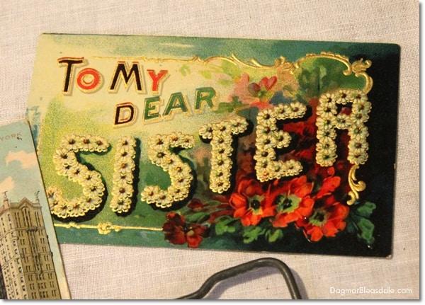 "vintage ""To my dear sister"" postcard"