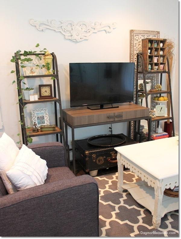 cottage living room with Sauder desk and chair, DagmarBleasdale.com