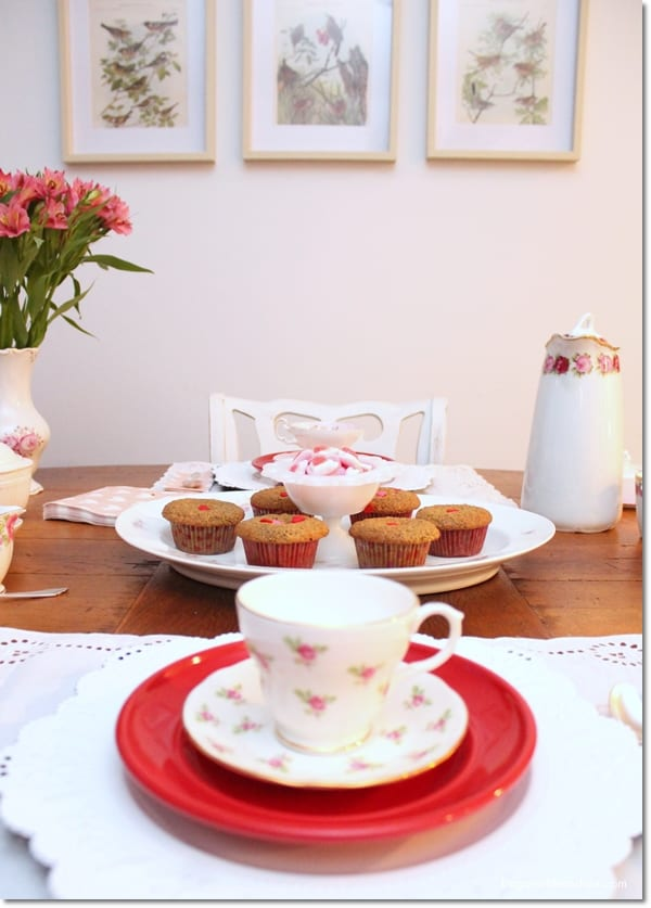 Valentine's Day Tablescape With Vintage Teacups, DagmarBleasdale.com