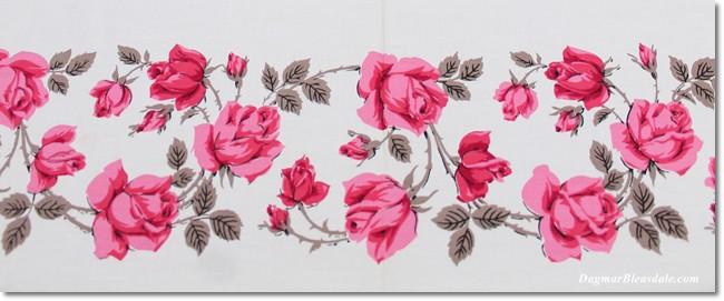 vintage tablecloth, pink roses, DagmarBleasdale.com