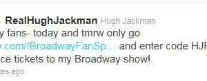 Hugh Jackman Broadway Discount Twitter