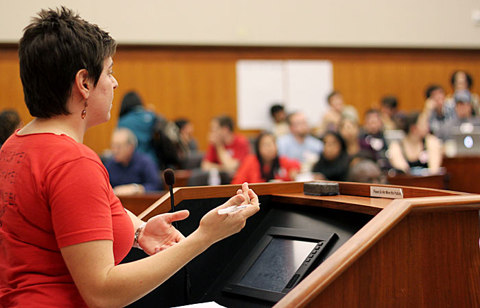 UAW Local 2865 President Cheryl Deutsch speaks in front of the union meeting that was held at Boalt Hall Saturday.