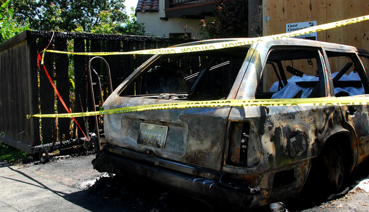 A 1994 Mercedes Benz station wagon, above, was destroyed in the fire on the 500 block of Cragmont Avenue, which broke out on Wednesday.