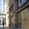 Some stores boarded up their windows in anticipation of rioting.
