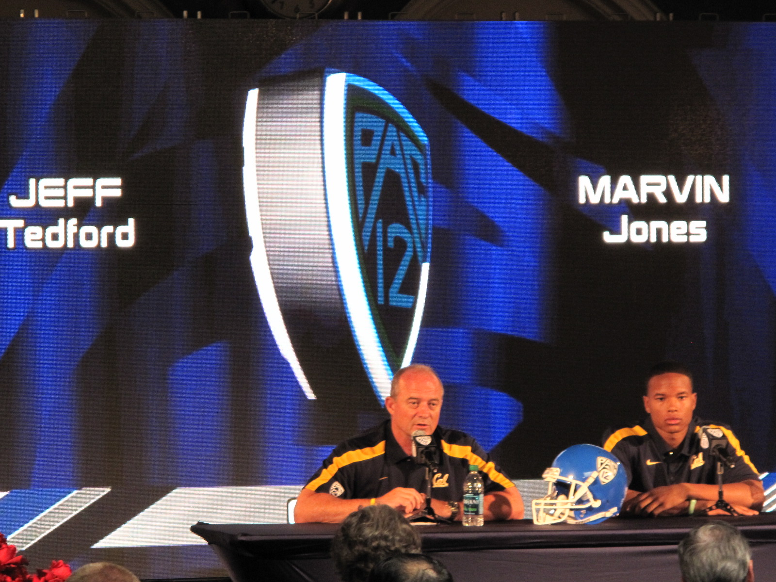 Head coach Jeff Tedford and receiver Marvin Jones fielded questions during Tuesday's Pac-12 Media day.