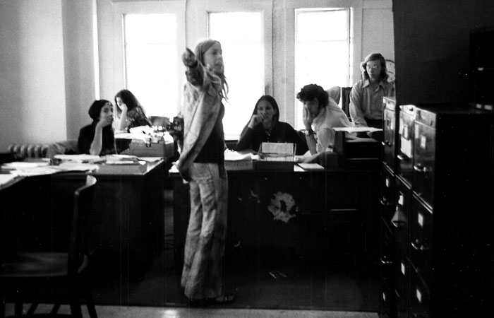 Toni Martin, the first Editor-in-Chief of the independent Daily Californian, stands with her staff in the Daily Californian newsroom.  This photo was taken in 1971, the first year of the Daily Cal's independence. - Toni Martin/Courtesy
