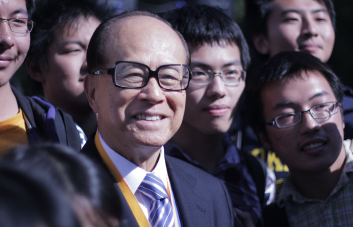 Li Ka-shing attended the dedication of the Center for Biomedical and Health Sciences, which will bear his name.