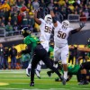 Oregon quarterback  Darron Thomas completed 13 of 25 attempts. He threw for 198 yards and three touchdowns.