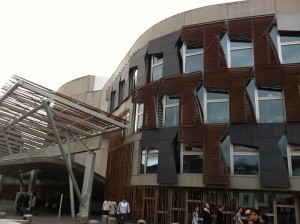 The Scottish Parliament Building, located in Edinburgh, Scotland.