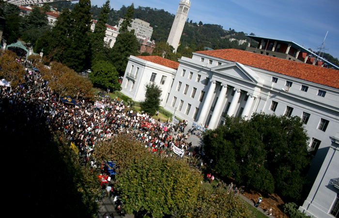 Over 1,000 protesters flooded into Sproul Plaza, making this Day of Action the most attended since 2009.