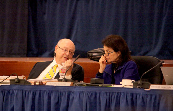 Mark Yudof, President of the University of California, and Sherry Lansing, Chairman of the Board of Regents converse at the September 2011 regents meeting.