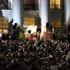 In anticipation of Robert Reich's Mario Savio Memorial Lecture, a crowd of thousands gathered on Sproul Plaza Tuesday evening.